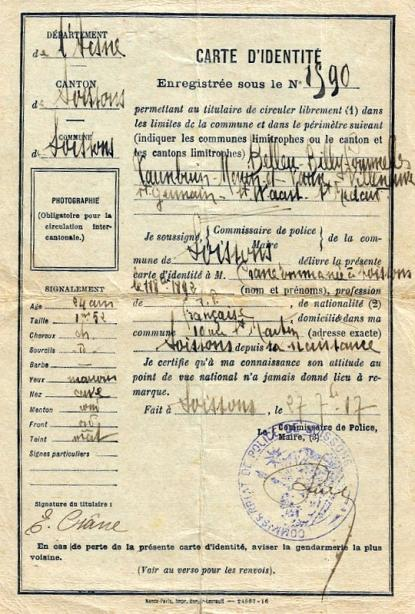 Carte d'Identité en 1917